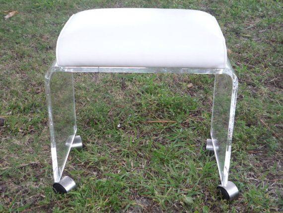vintage lucite vanity stool bench ottoman wheels castors