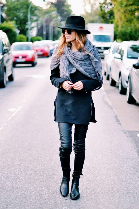 Maja Wyh's tunic-like top, leather skinny pants, and boots make for a killer fall outfit. // #StreetStyle