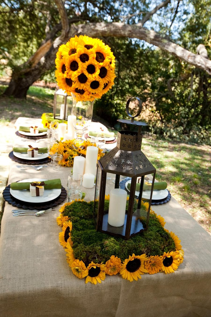 Sunflower centerpiece ideas wedding favor