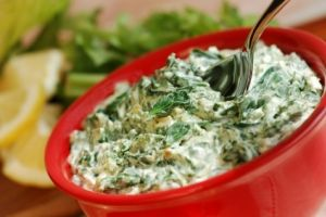 Reduced fat hot artichoke spinach dip!  Are you kidding me??