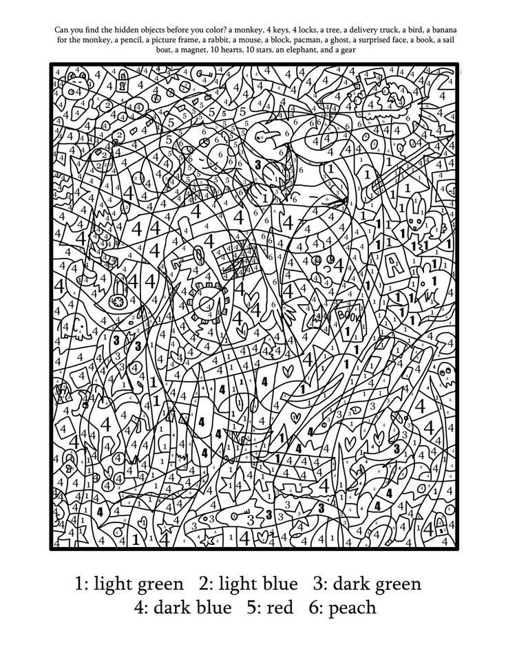 Hard Color By Number Worksheets Hard color by number pages