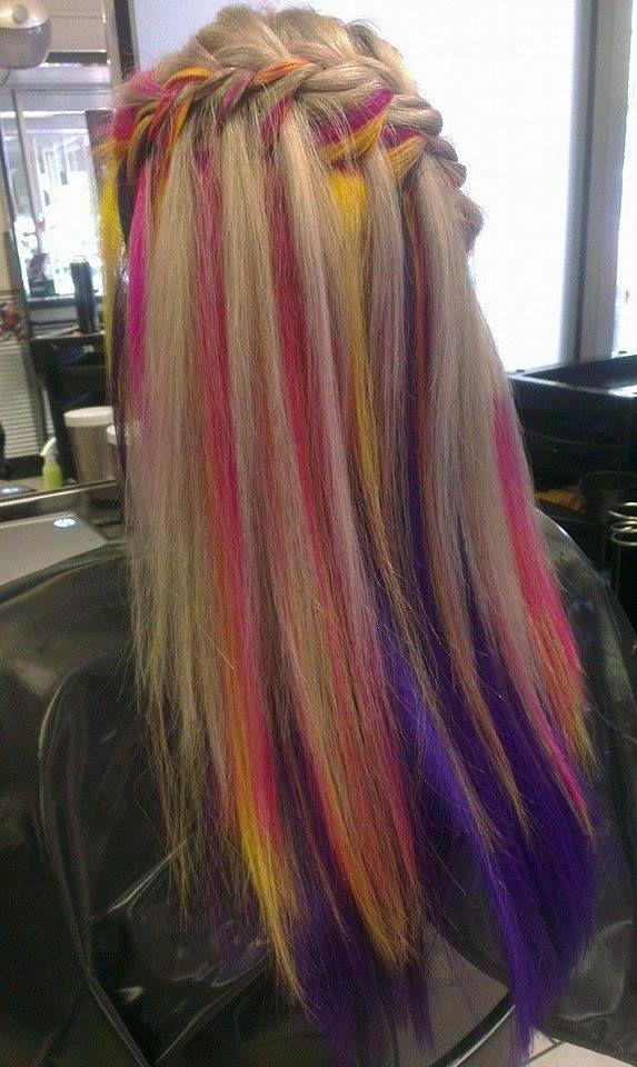 Blonde Hair With Purple Peekaboo Highlights
