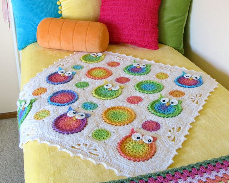 Crochet Owl Blanket : CROCHET PATTERN - Owl Obsession - a CoLorFuL owl blanket - Instant PDF ...