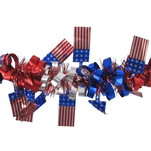 Tinsel Garland with Dangle Flags