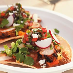 Grilled Chicken Tostadas with Sweet and Sour Vegetables Recipe ...