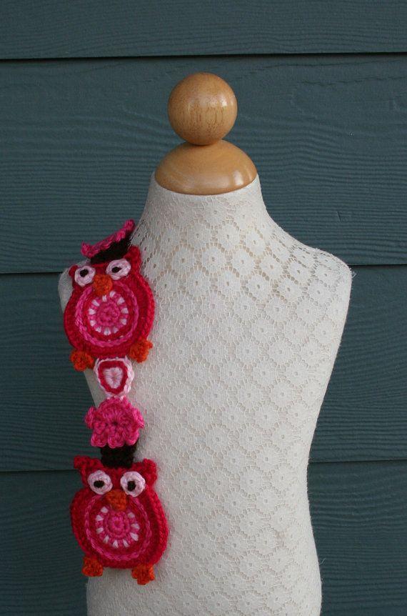 Sweet Heart Owl Crochet Scarf Pattern PDF Made In USA