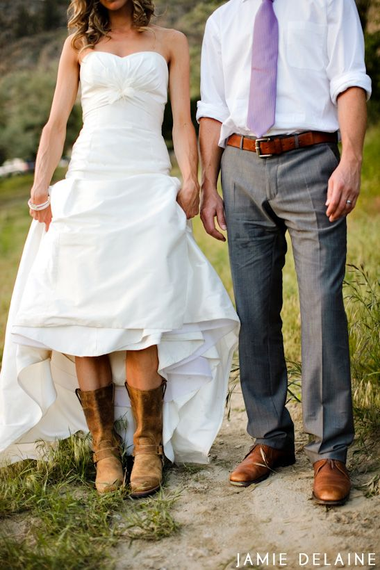 Cowgirl boots wedding dress country elegant weddings for Wedding dresses for cowboy boots