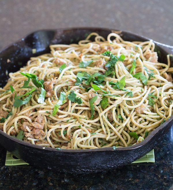 Spaghetti with Parsley Pesto and Veggie Sausage | Recipe