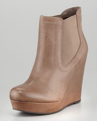 Prime Suspect Leather Covered-Wedge Ankle Boot, Brown at CUSP.