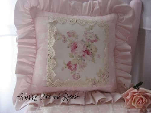 Romantic Pink Roses Accent Pillow~Mary Rose & RA Simply Shabby Chic F?