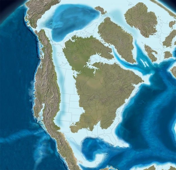 """Map of Late Cretaceous coastline, from the post """"How US presidential elections are impacted by a 100 million year old coastline"""""""