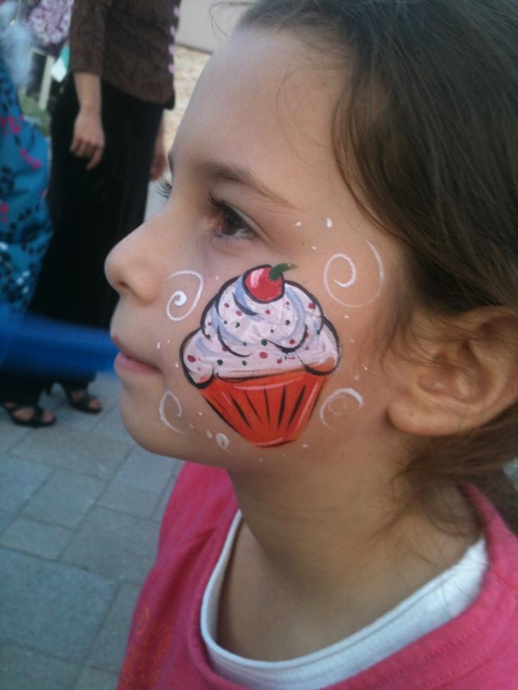 Cupcake Cheek Art Face Paint Design Kids