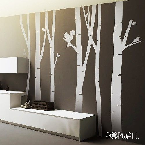 9ft tall birch trees winter birch tree vinyl wall for Birch trees wall mural
