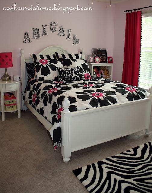 Black white pink bedroom teen girls room pinterest - White black and pink bedroom ...