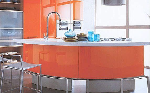 orange?! kitchen island  D R E A M~ R E A L E S T A T E  Pinterest