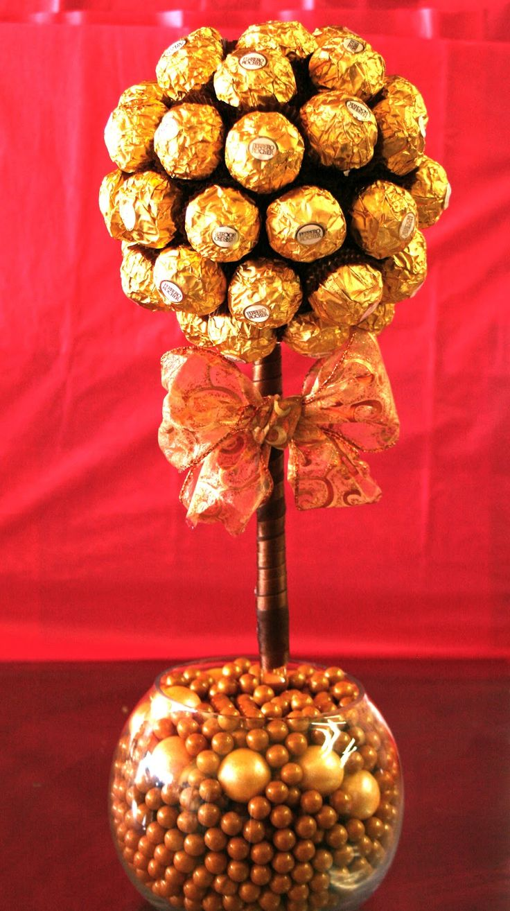 Chocolate amp gum ball topiary elegant candy centerpieces candy