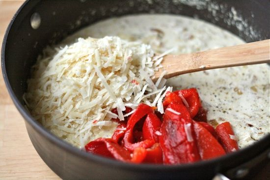 Roasted Red Pepper & Goat Cheese Alfredo | Recipe