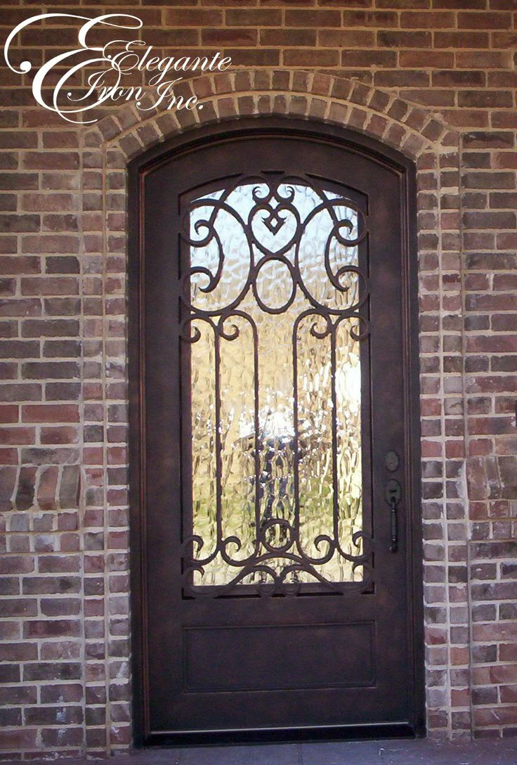Custom wrought iron front door single doors pinterest for Wrought iron entry doors