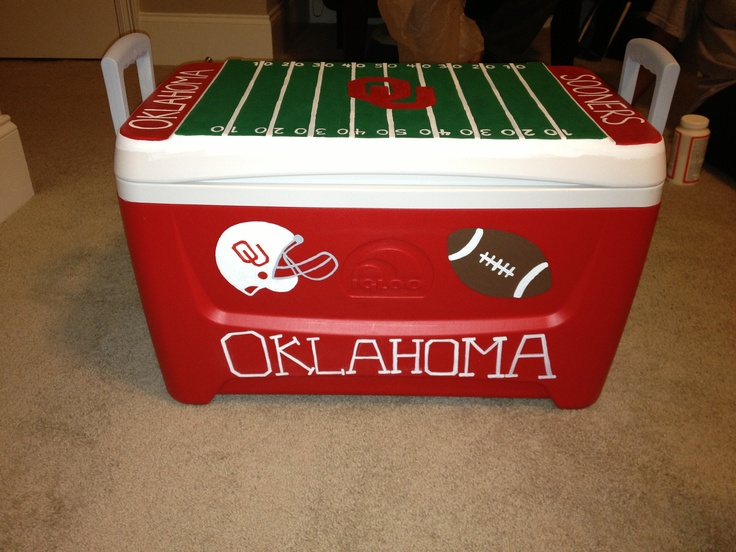 My DIY tailgating cooler... Boomer Sooner! acrylic paints + mod podge + a design idea!