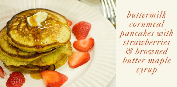 Cornmeal pancakes with brown butter maple syrup from Cube