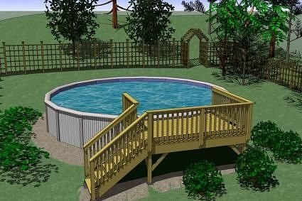 Cad of above ground pool with small deck outdoor space pinterest - Above ground pools for small spaces model ...