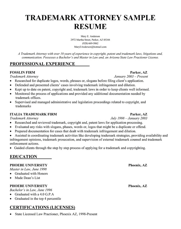 Trademark attorney sample resume