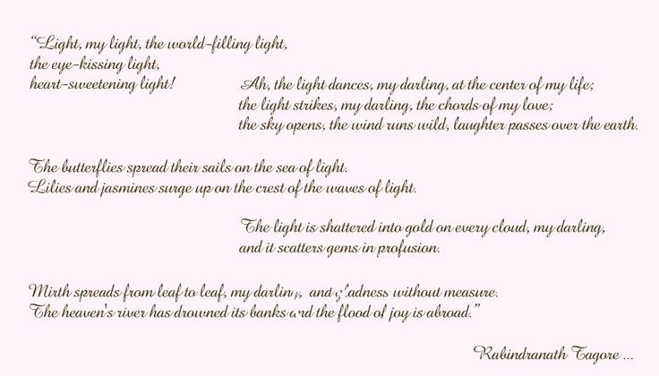 Light rabindranath tagore poem poetry pinterest