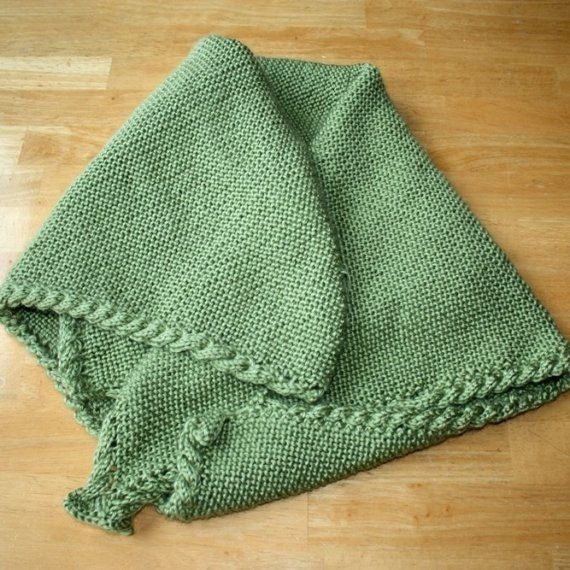 Knit Pattern Baby Blanket Cable : Knit baby blanket pattern - warm cable border P-9