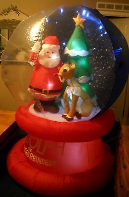 Christmas inflatable prototype santa and rudolph led snow globe gemmy