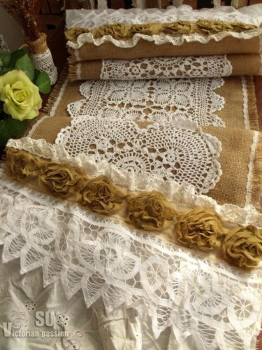 wedding ivory runner Vintage Lace table Weddings