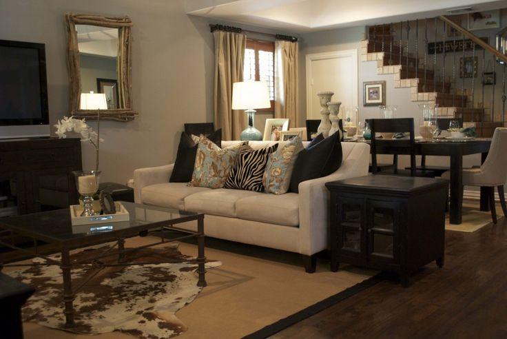 cowhide rug living room pinterest