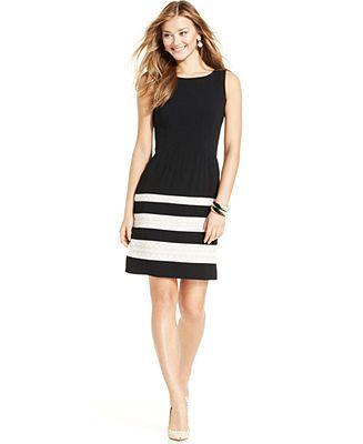 Ivanka Trump Contrast Crochet Colorblock A-line Dress - Dresses