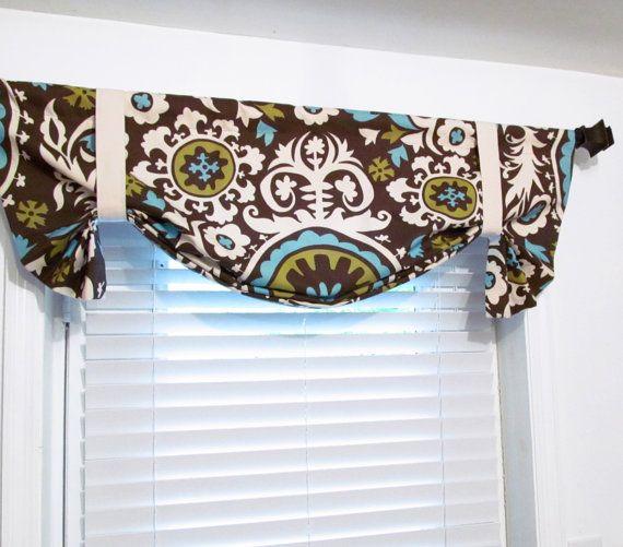 Tie Up Curtain Valance Premier Prints Suzani Chocolate Natural Window