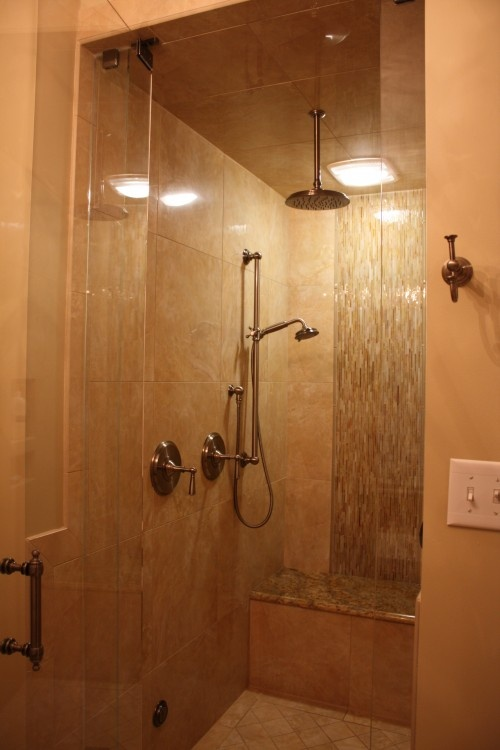 Small shower with bench bathrooms pinterest for Small bathroom bench
