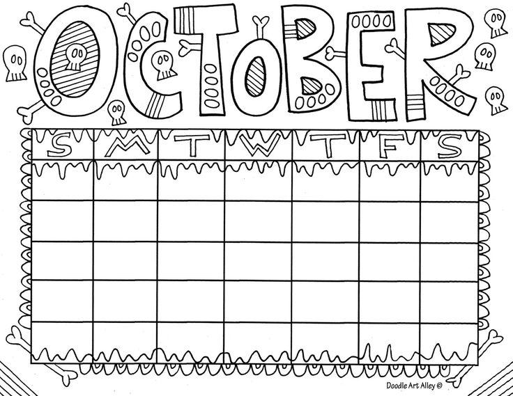 Printable Calendar Doodle Art Alley : October g fun doodles pinterest