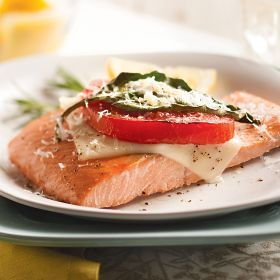 Baked Wild Salmon with Tomato, Mozzarella and Basil - See more at ...