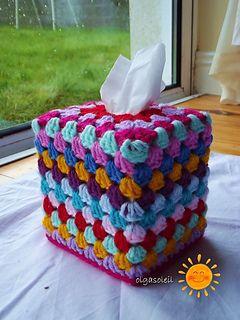 Stitch Of Love Free Pattern Crochet Catherine Wheel Tissue Box Cover : CROCHET GRANNY TISSUE BOX COVER ? Only New Crochet Patterns