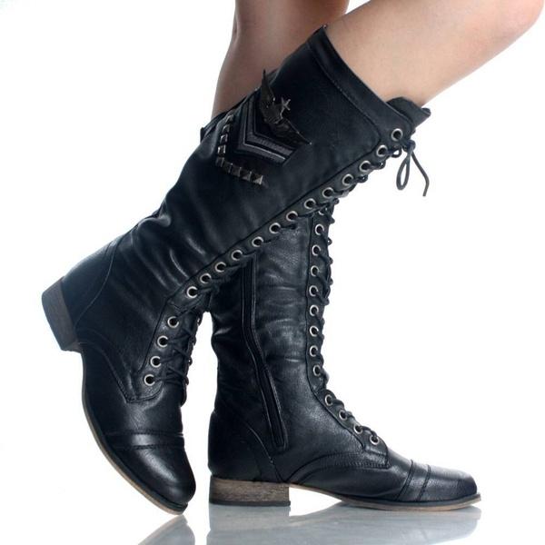Original Womens Ladies Black Combat Boots  EBay