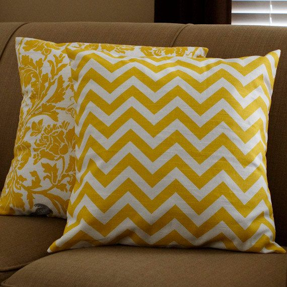 Yellow chevron pillow for updating master bedroom linens