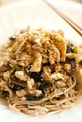 Chicken, mushroom and miso sauce with soba noodles
