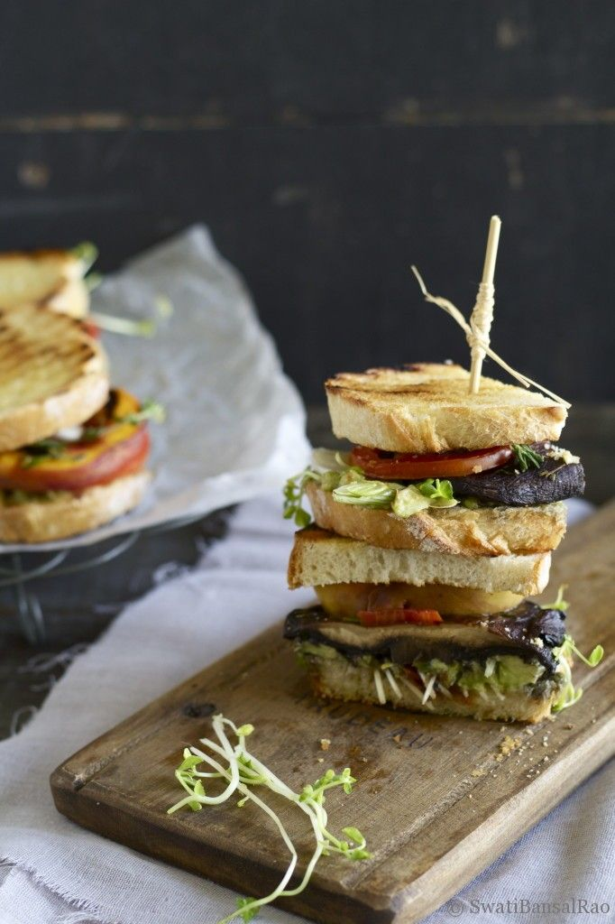 Grilled Portobello and Peach Sandwich | Swati Bansal Rao
