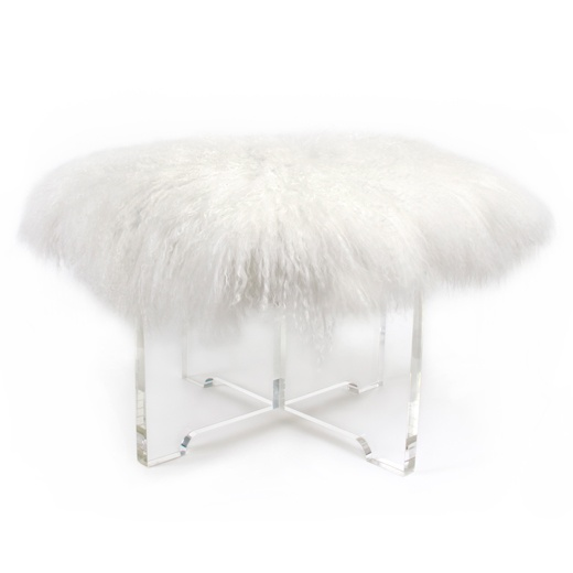 Why, yes, I would like a mongolian lamb and lucite bench! Thank you, Jonathan Adler.