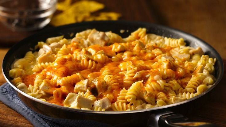 ... easy, cheesy southwestern take on a chicken and pasta skillet dinner