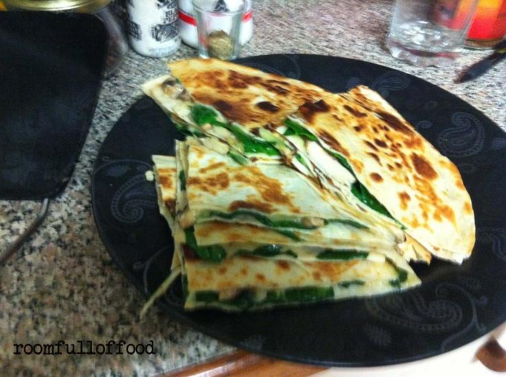 Mushroom and Spinach Quesadillas! | Food | Pinterest