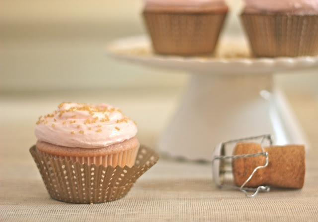 pink champagne cupcakes with Pink Champagne Frosting