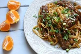 Tangerine Beef Over Linguine - Door to Door Organics. -use zucchini ...