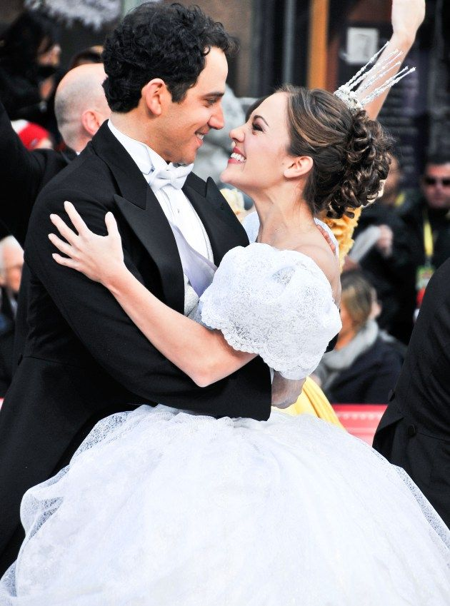 "Laura Osnes as Cinderella and Santino Fontana as the Prince in ""Rodgers + Hammerstein's Cinderella"" -- Macy's Thanksgiving Day Parade"