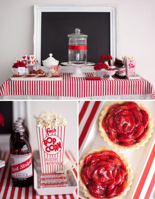 Red and White Wedding Dessert Table