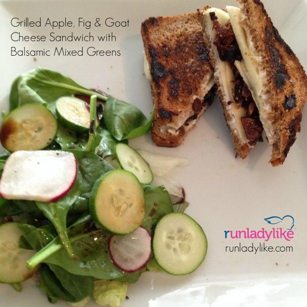Grilled apple, fig and goat cheese sandwich with balsamic mixed greens ...