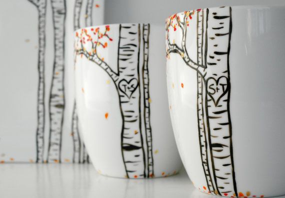 Autumn Aspen Forest Personalized mug hand painted by MaryElizabethArts.com $35/each